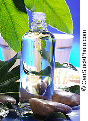 spa, huile, et, pierres
