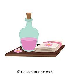 spa, huile, serviettes