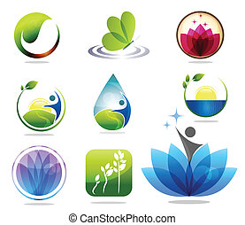 Spa icons - Beautiful spa icon collection, butterfly, ...