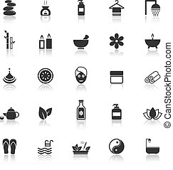 Spa icons with reflect on white background