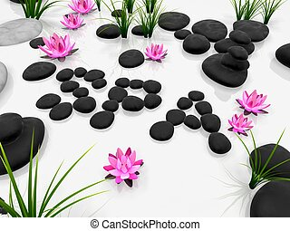 3d rendered illustration of lotus flowers and stones