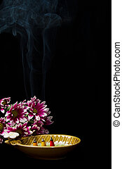 Spa incense  with  pink chrysanthemums