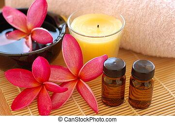 Spa Interior Conceptual - Plumerias, aroma therapy oil,...