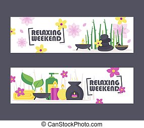 Spa items and accessories vector illustration. Wellness center newsletter cover, professional healthcare advertising banner. Oriental skin treatment