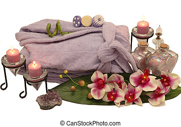 Spa Items - Bathrobe, orchid, perfume bottle, bath salt, ...