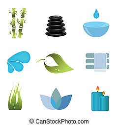 Spa items icon set