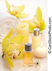 spa, jogo, com, óleos essenciais, e, flores