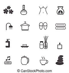 spa, jogo, massagem, ícones