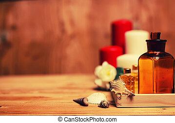 spa, kerze, wischt, flaschen