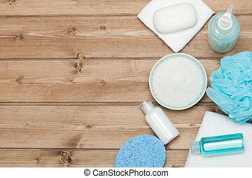 Spa Kit. Top View. Shampoo, Soap Bar And Liquid. Shower Gel....