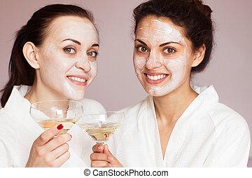 spa, lächeln, champagner, freundinnen
