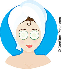 Spa Lady Cucumbers - A woman having a facial with a towel on...
