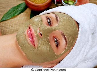 spa, lama, mask., mulher, em, spa, salão