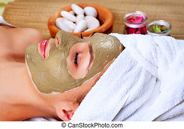 spa, lama, mask., mulher, em, spa, salo