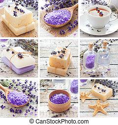spa, lavendel, collage