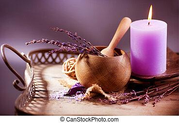 spa., lavendel, organisch, zelfgemaakt, schoonheidsmiddelen