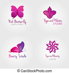 Spa logo set. Butterfly and flower logos.