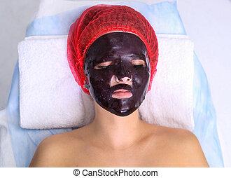 spa, máscara, facial, chocolate