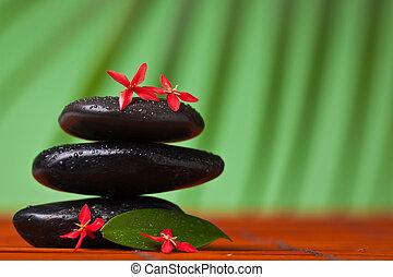 spa, &, masage, nature morte, :, équilibrage, pierres