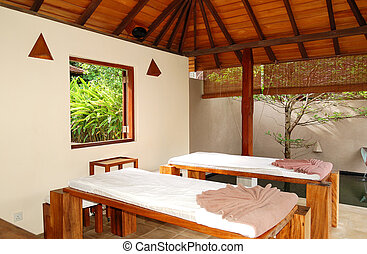 SPA massage beds at  luxury hotel, Bentota, Sri Lanka