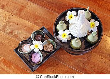 spa massage cream and oil setting