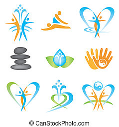 Spa massage health icons - Set of icons with spa, massage, ...