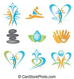 Set of icons with spa, massage, yoga, health symbols. Vector illustration.