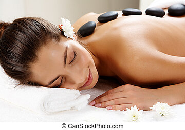 Spa massage - Portrait of young female ready for the...