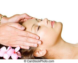 spa, massage., schoenheit, frau, bekommen, gesichtsbehandlung, massage., day-spa