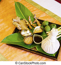 Spa massage setting with thai herbal compress stamps