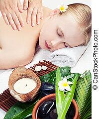 Spa massage. Top view. Beautiful young woman getting spa massage