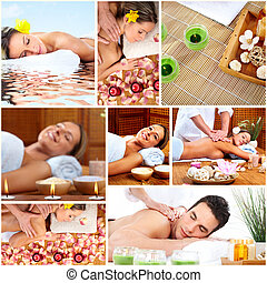 spa, massagem, colagem, experiência.