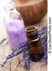spa, met, lavendelblauwe olie, en, zout