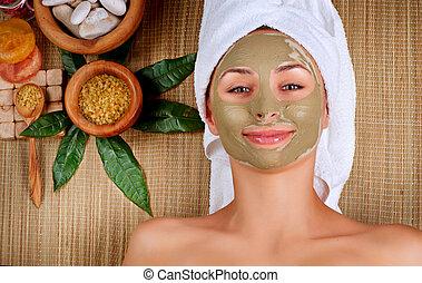 spa, modder, mask., vrouw, in, spa, salon
