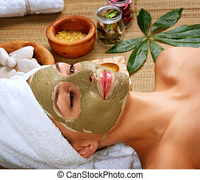 Spa Mud Mask. Woman in Spa Salon