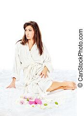 spa, mulher, bathrobe