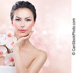 spa, mulher, com, fresco, skin., beleza, menina, tocar, dela, rosto