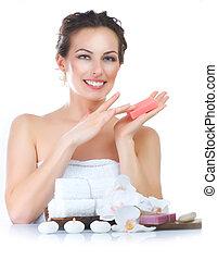 spa, mulher, feito à mão, sabonetes