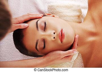 spa, mulher, jovem, massagem, rosto