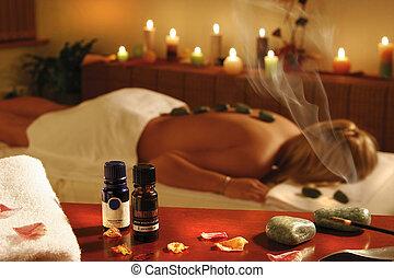 spa, mulher, terapia, romanticos