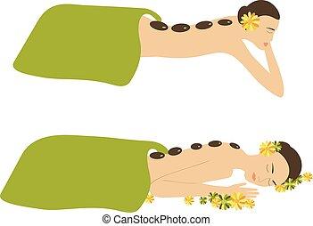 spa, mulher, vetorial, massagem