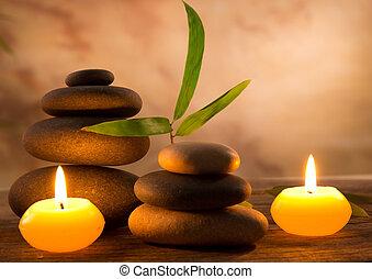 spa, nature morte, à, aromatique, bougies