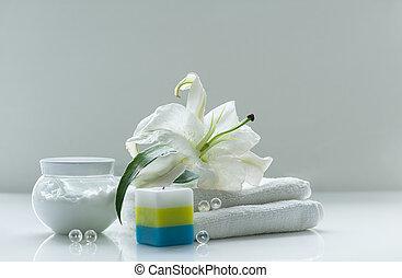 spa, nature morte, à, lis blanc
