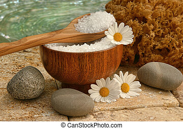 spa, nature morte, à, sels bain, et, pâquerettes
