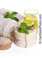spa, nature morte, -, serviettes, corps, sel, savon, et, huile essentielle