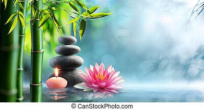 spa, -, naturel, thérapie alternative, à, masage, pierres, et, nénuphar, dans, eau