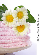 Spa Objects - towel and mum for spa against white background