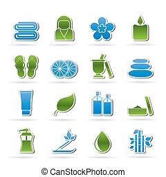 spa, objetos, ícones