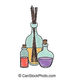 Spa oil bottle scribble