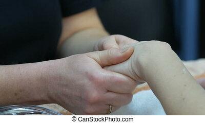 spa, opleiding, salon, masseren, hand